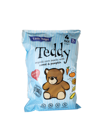 Snack kukuričný Teddy mrkva tekvica BIO (4x15g) 60g