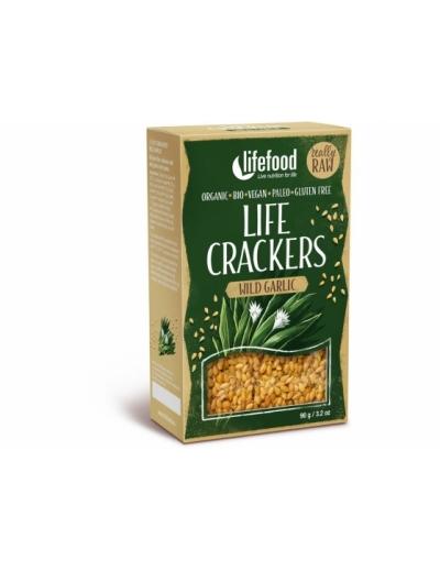 Bio Life crackers s medvedím cesnakom bezgluténové BIO RAW 90g