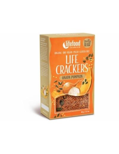 LIFE CRACKERS Cibuľové s tekvicovým semienkom BIO RAW 90 g Lifefood