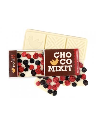 Mini Čokoláda: Biela s červenými ríbezľami a čučoriedkami 50g