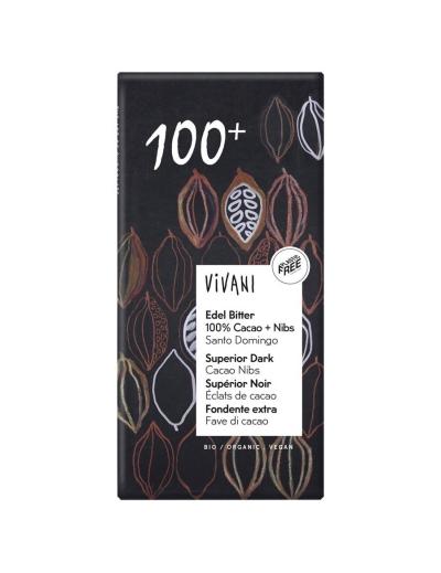 Vivani Horká 100% s kúskami kakaa 80 g